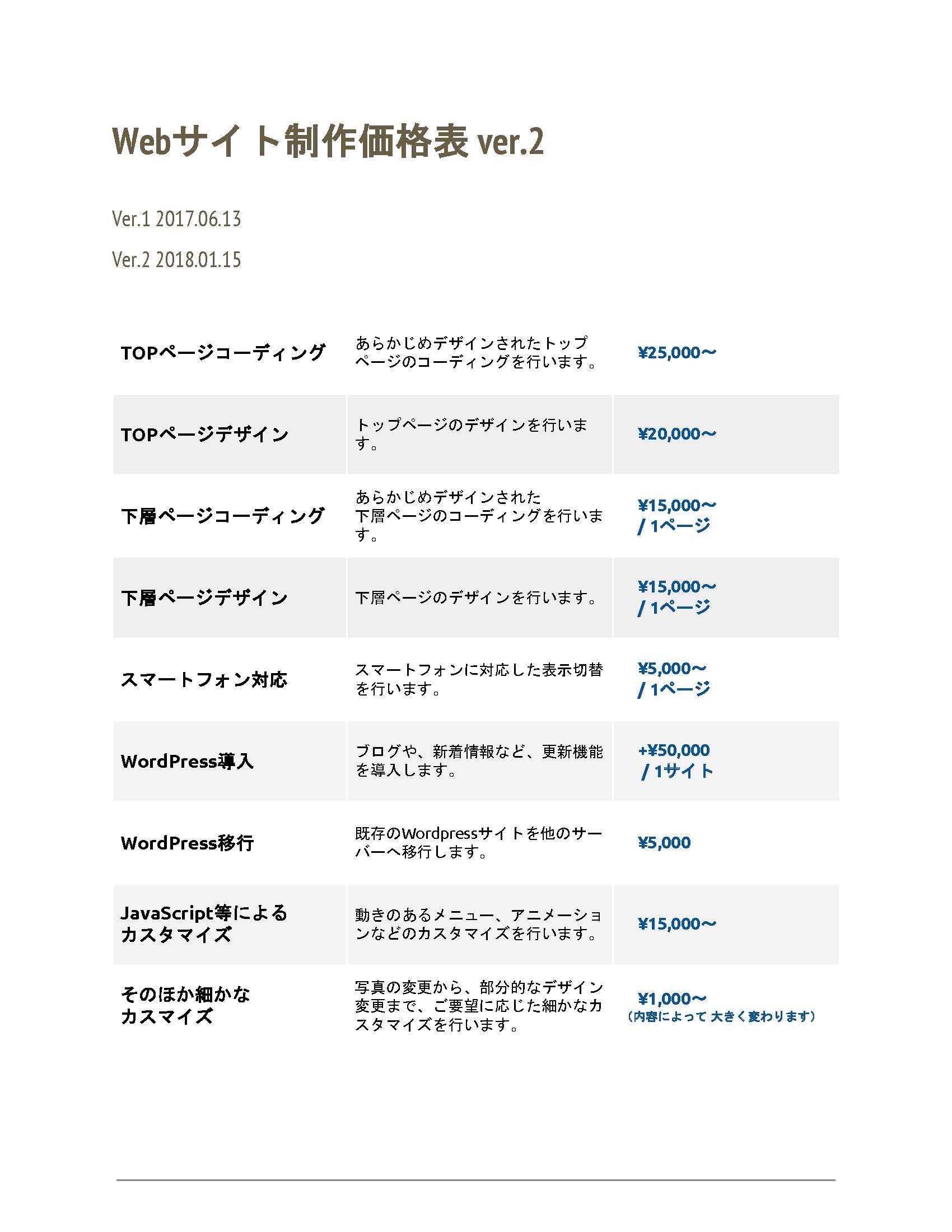 web制作価格表